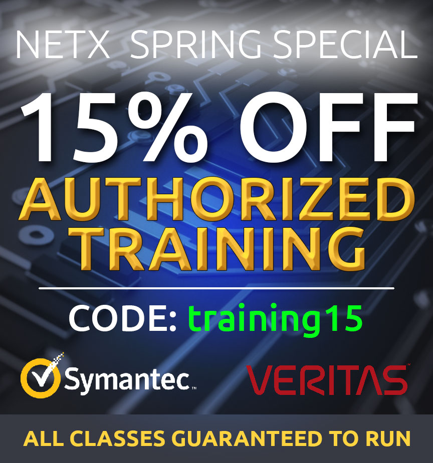 NetX Spring Promotion Special 15% off all Veritas training and Symantec training