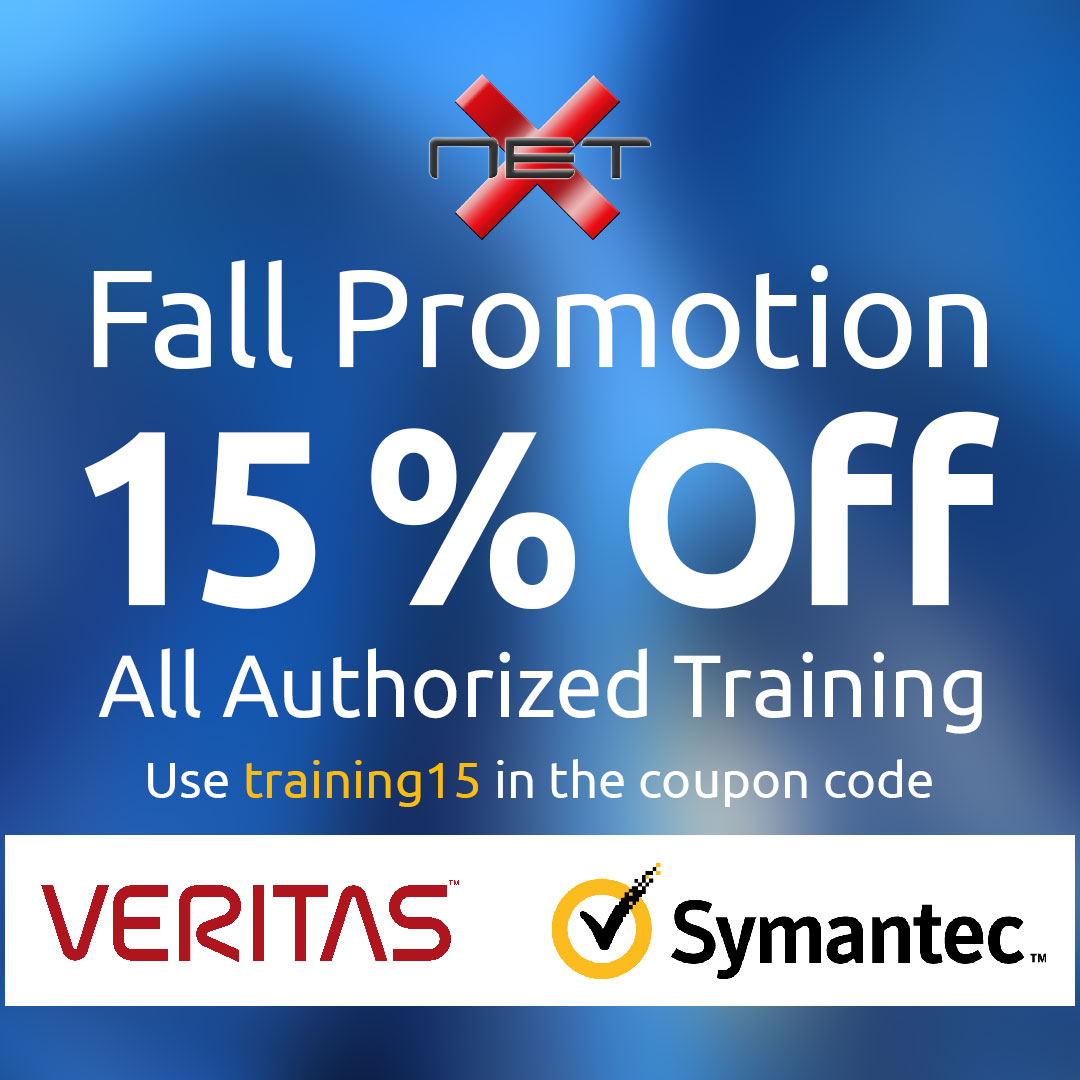15% all authorized training Veritas and Symantec