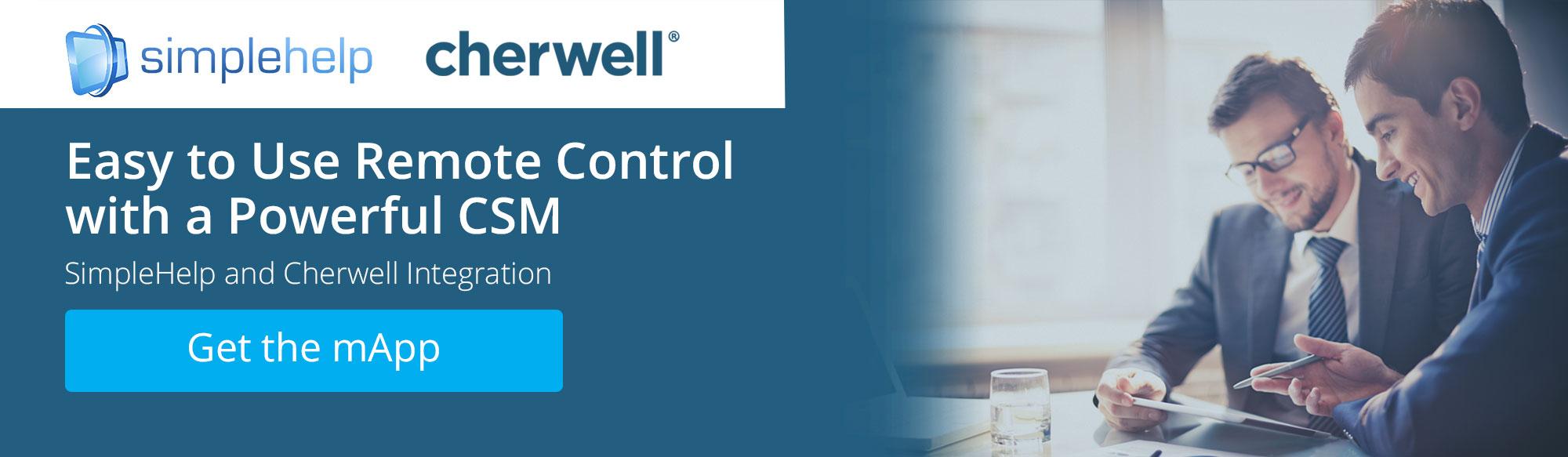 SimlpleHelp and Cherwell Integration, Get the mApp