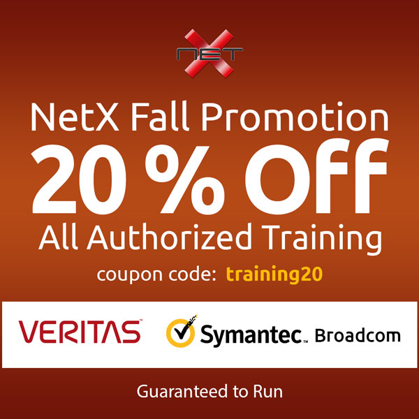NetX fall training promotion discount for Veritas and Symantec Broadcom courses